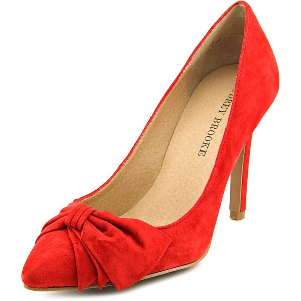 Audrey Brooke Edna Women Pointed Toe Suede Red Heels