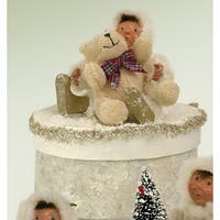 "6.5"" Winter White Glittered Yule Box with Toddler and Teddy Bear"