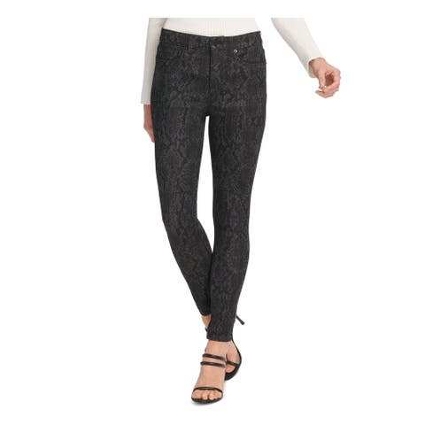 DKNY Womens Black Floral High Rise Skinny Jeans Size 25/0