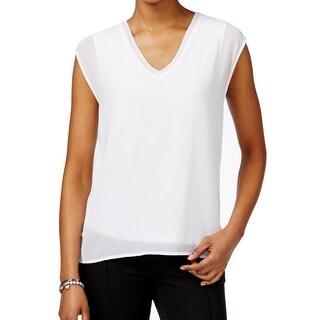 Michael Kors NEW White Womens Size Large L V-Neck Sleeveless Blouse