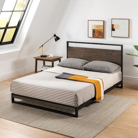 Priage by ZINUS Metal and Wood Platform Bed Frame