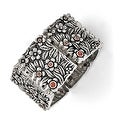 Chisel Stainless Steel Polished/Antiqued Red CZ Stretch Bracelet - Thumbnail 0