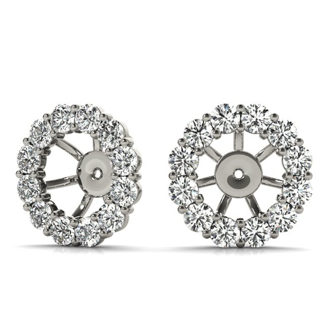 14K WG Over Sterling Silver Created Diamonds Halo Stud Bridal Earrings Jackets