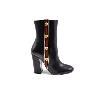Gucci Womens Embellished Canvas-trimmed Leather Ankle Black Boots Size 36.5 / 6.5