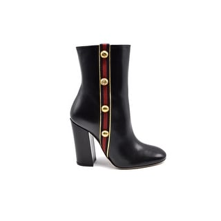 Gucci Womens Embellished Canvas-trimmed Leather Ankle Black Boots Size 37.5 / 7.5