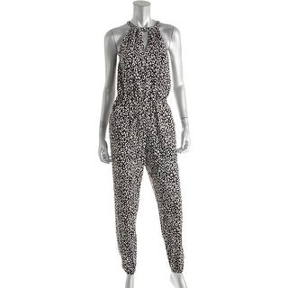 Marilyn Monroe Womens Juniors Animal Print Keyhole Jumpsuit - XS