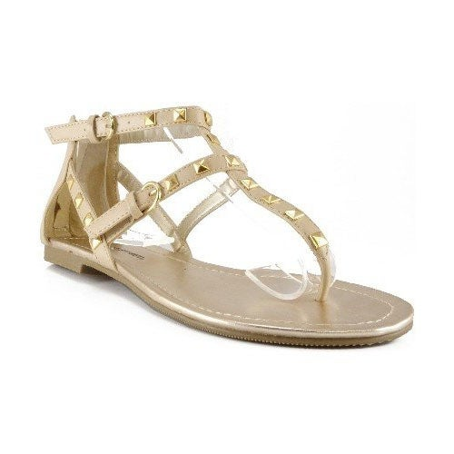 City Classified Womens Willie Closed Back Thong Studded Fashion Sandals
