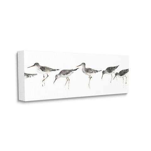 Stupell Industries Beach Bird Sandpipers Minimal Grey White Painting Canvas Wall Art