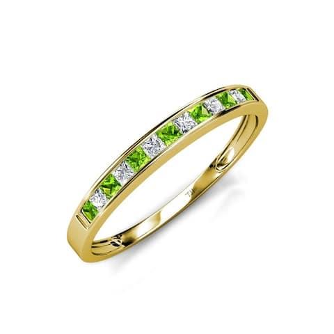 TriJewels Peridot Diamond 13 Stone Channel Set Wedding Band 14K Gold