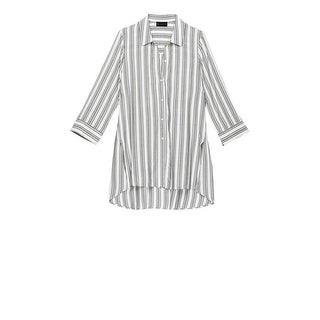 Bobeau Button Front Plus Size Shirt