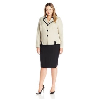 Le Suit Plus Size Contrast Three Button Skirt Suit - 14W