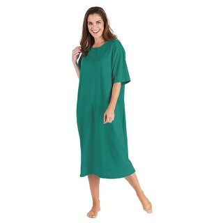 Catalog Classics Women's Long Henley Nightshirts - Set of 2 Pajama Sleep Shirts