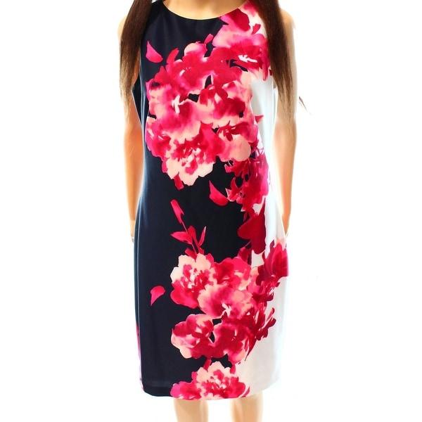 Lauren Ralph Lauren NEW Blue Pink Floral Print Women 12 Sheath Dress