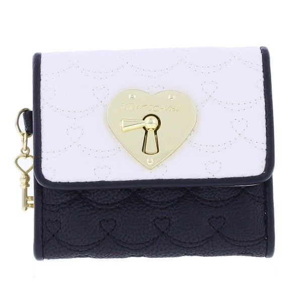 Betsey Johnson Womens Swag Heart Trifold Wallet Quilted Faux Leather - o/s