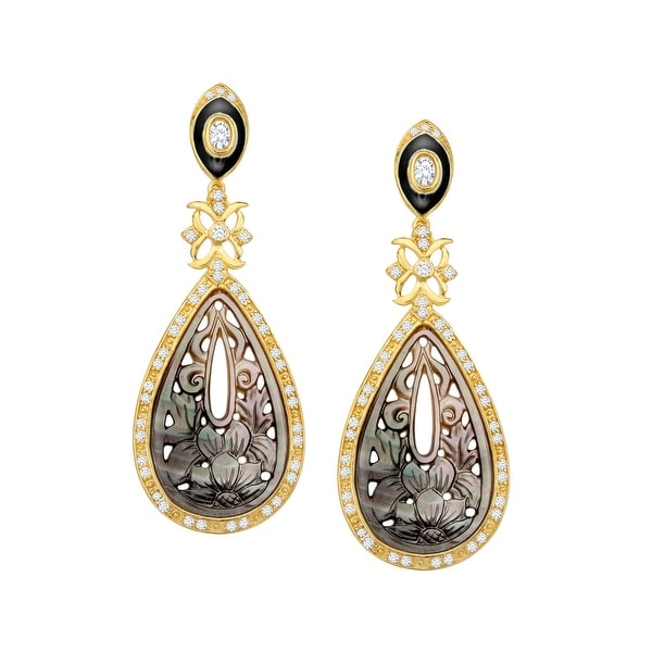 Cristina Sabatini Deluxe Natural Mother-of-Pearl Earrings with Cubic Zirconia in 14K Gold-Plated Sterling Silver - Brown