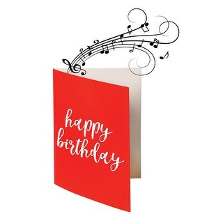 Endless Singing Birthday Song Joke Card - Funny Electric Card - Glitter - Red