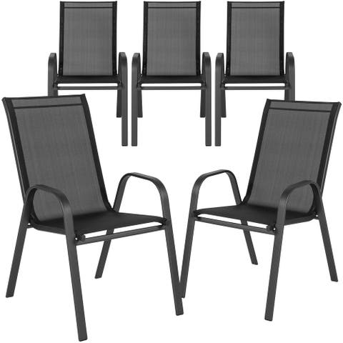 "5PK Black Outdoor Stack Chair with Flex Comfort Material and Metal Frame - 21.25""W x 29""D x 36""H"
