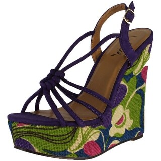 Luichiny Women's My Fair Lady Wedge Sandals - purple imi suede