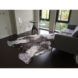 Shop Faux Cowhide Grey Charcoal Brown Area Rug 6 2 X 8