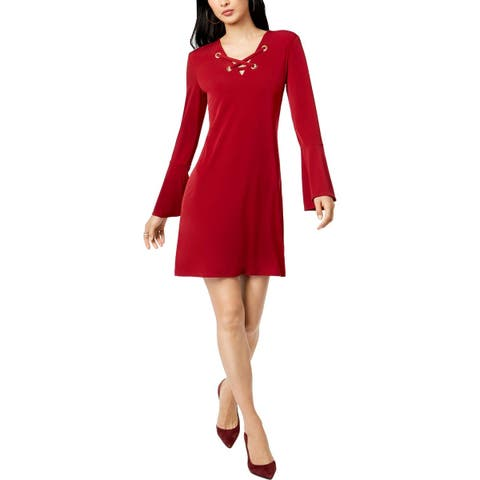 f00ee4057e9 MICHAEL Michael Kors Womens Mini Dress Matte Jersey Grommet Lacing