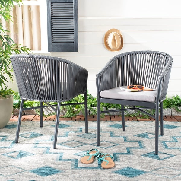 Shop Safavieh Outdoor Living Matteo Rope Chair - Grey (Set ... on Safavieh Outdoor Living Montez 4 Piece Set id=25339