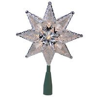 "8"" Silver Mosaic 8-Point Star Christmas Tree Topper - Clear Lights - N/A"
