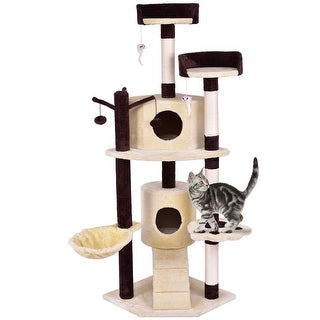 Gymax 63'' Cat Tree Pet Play House Tower Condo Bed Scratching Post w Hanging Toy Ladder