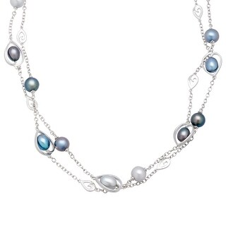 Honora Morning Dew Blue Freshwater Pearl Toggle Station Necklace