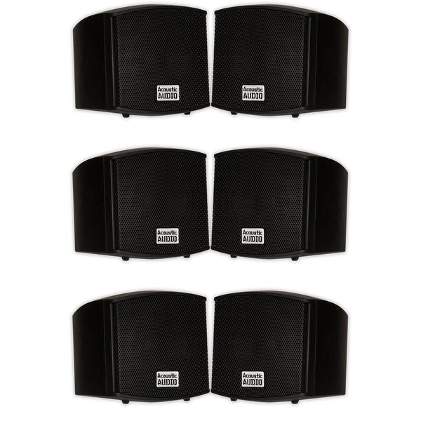 Acoustic Audio AA321B Indoor Mount Black Speakers 1200W 3 Pair Pack AA321B-3Pr