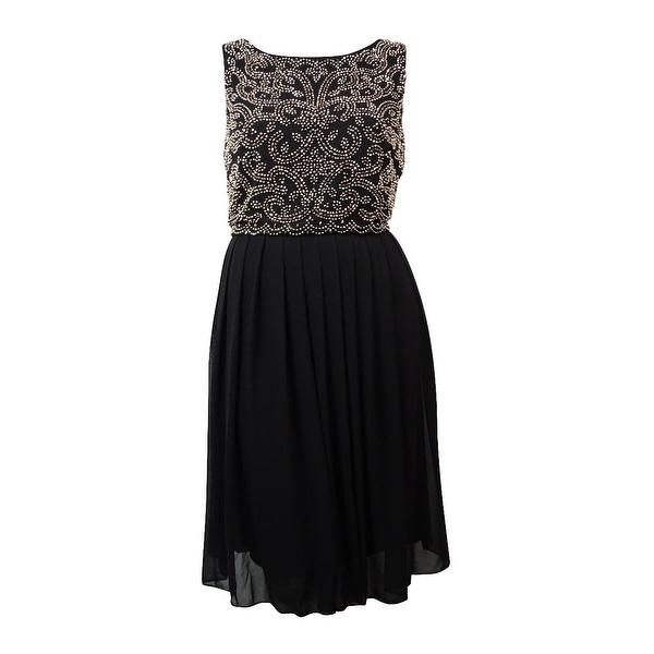 0600e3b7 Shop Xscape Women's Caviar Beaded Chiffon Dress - black/antique - 14 - Free  Shipping Today - Overstock - 17117181