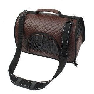 Travel Soft Faux Leather Meshy Zipper Pocket Design Pet Carrier Tote Bag Brown