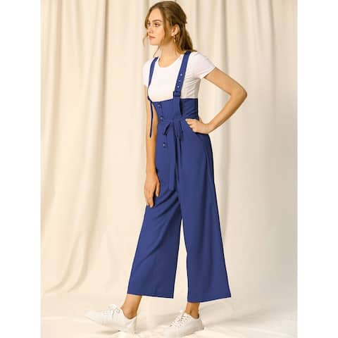 Women's Button Front High Waist Belt Straight Overall Jumpsuit