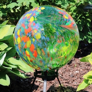 Link to Sunnydaze Green Artistic Glass Gazing Ball Globe - 10-Inch - Set of 2 - Set of 2 Similar Items in Outdoor Decor