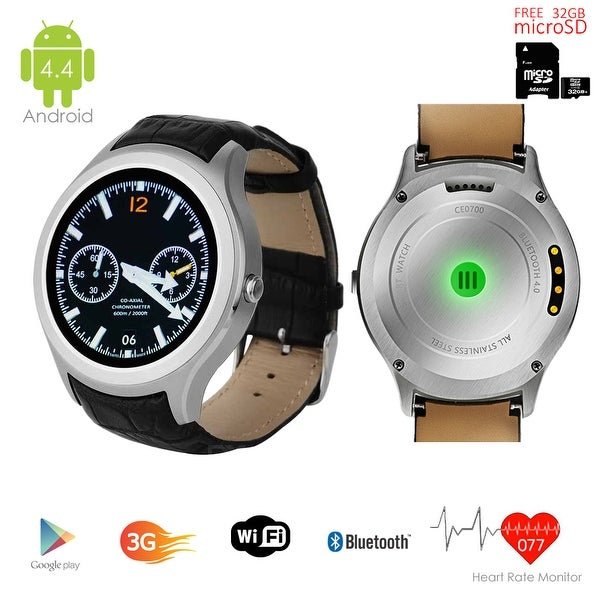 Indigi® Android 4.4 (Factory Unlocked) KitKat SmartWatch and Phone w/ WiFi + GPS + Camera w/ 32gb microSD Included - Silver