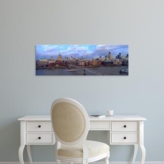 Easy Art Prints Panoramic Image 'London Millennium Footbridge, St. Paul's Cathedral, London, England' Canvas Art