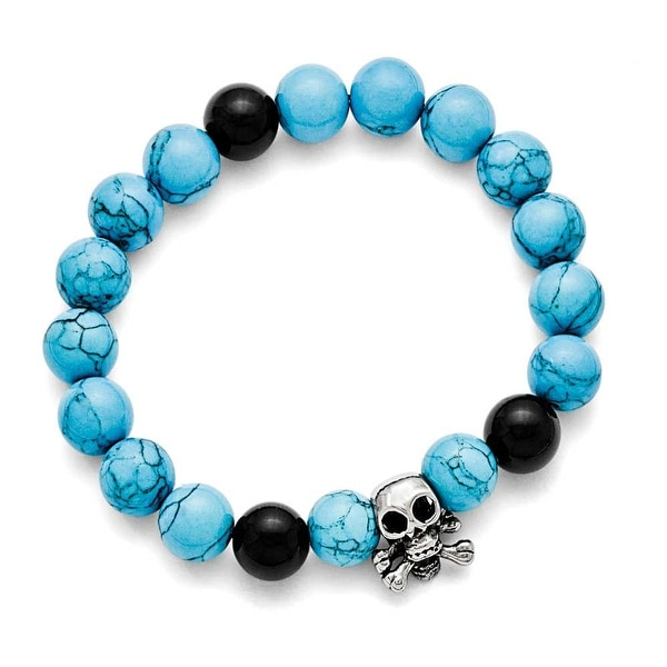 Chisel Stainless Steel Antiqued Skull with Imitation Turquoise/Black Onyx Bracelet