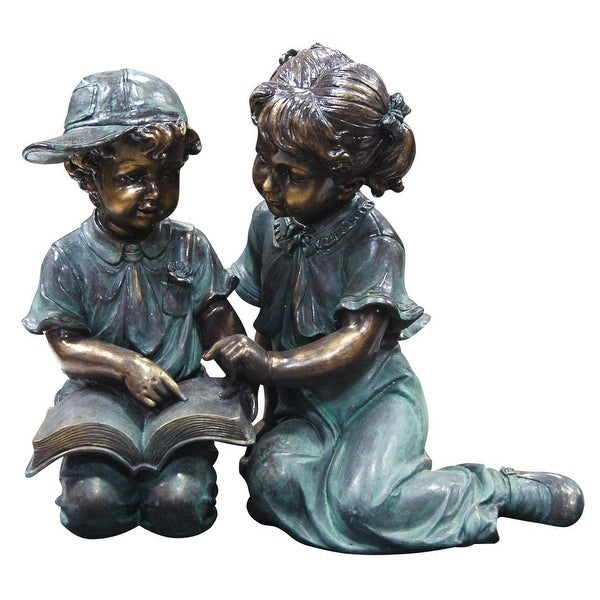 Alpine Boy and Girl Reading Together Garden Statue