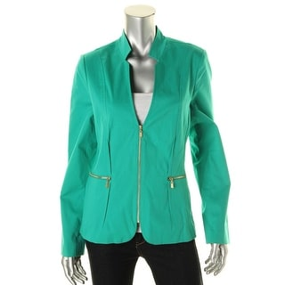 Laundry by Shelli Segal Womens Zip Front Collarless Casual Blazer