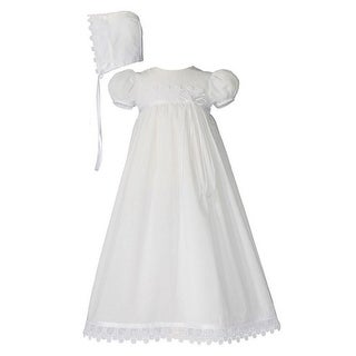 Baby Girls White Cotton Venice Lace Short Sleeve Hat Christening Gown