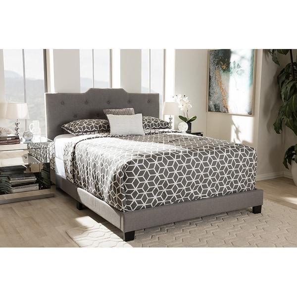 6252a962b681 Shop Brunswick Light Grey Fabric Upholstered Box Spring Bed (King ...