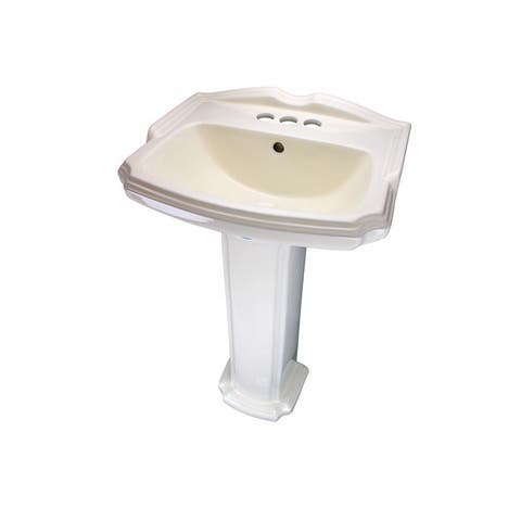 Traditional Pedestal Sink Biscuit China Cloakroom Centerset - Cream