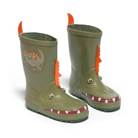 Kidorable Boys Green Dinosaur Spike Lined Rubber Rain Boots 11-2 Kids
