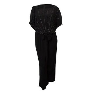 Xscape Women's Beaded Dolman Belted Jersey Jumpsuit - Black