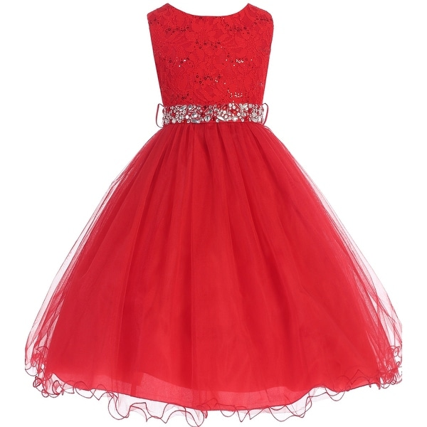 35925769922 Shop Flower Girl Dress Glitter Sequin Top   Rhinestone Sash Red JK 3670 - Free  Shipping Today - Overstock - 16737115