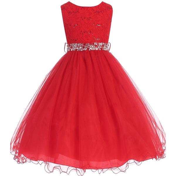 1f2b0cb8f427b Shop Flower Girl Dress Glitter Sequin Top & Rhinestone Sash Red JK 3670 - Free  Shipping Today - Overstock - 16737115