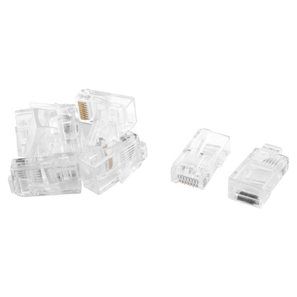 RJ45 8P8C CAT5 Modular Adapter Ethernet LAN Network Connector Plug Clear 9pcs