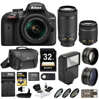 Nikon D3400 DSLR Camera (Black) w/ 18-55mm & 70-300mm Lenses and Nikon Gadget Bag Bundle|https://ak1.ostkcdn.com/images/products/is/images/direct/0a9ad675ca7af6222006aa1df523cf78e2c9539b/Nikon-D3400-DSLR-Camera-%28Black%29-w--18-55mm-%26-70-300mm-Lenses-and-Nikon-Gadget-Bag-Bundle.jpg?impolicy=medium
