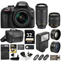 Nikon D3400 DSLR Camera (Black) w/ 18-55mm & 70-300mm Lenses and Nikon Gadget Bag Bundle