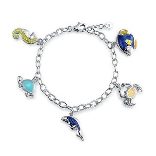 925 Silver Pink Lab Created Opal Nautical Charm Bracelet 7.5in
