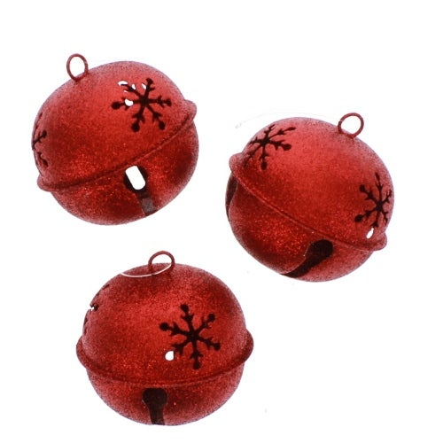 Red Glitter Bell Set of 3